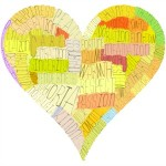 A Valentine's Day heart, composed from words about love, senses and psychology terms (such as passion, respect, nostalgia and a lot of others). Warm colors, hand-made letters.