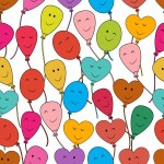 many brightly colored cartoon balloons and heart-shaped balloons with smiles